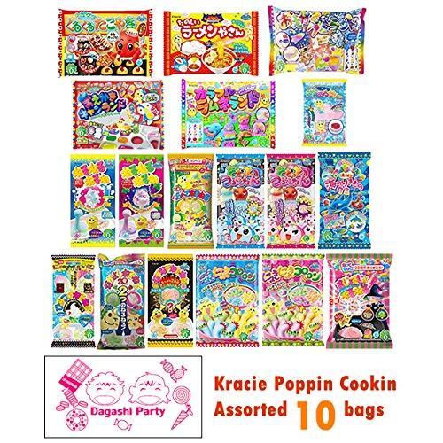 Assorted 10 bags Kracie Poppin' Cookin' DIY Gummy Candy Making Kit Takoyaki, Nerune, Ramen, Tsubupyon …