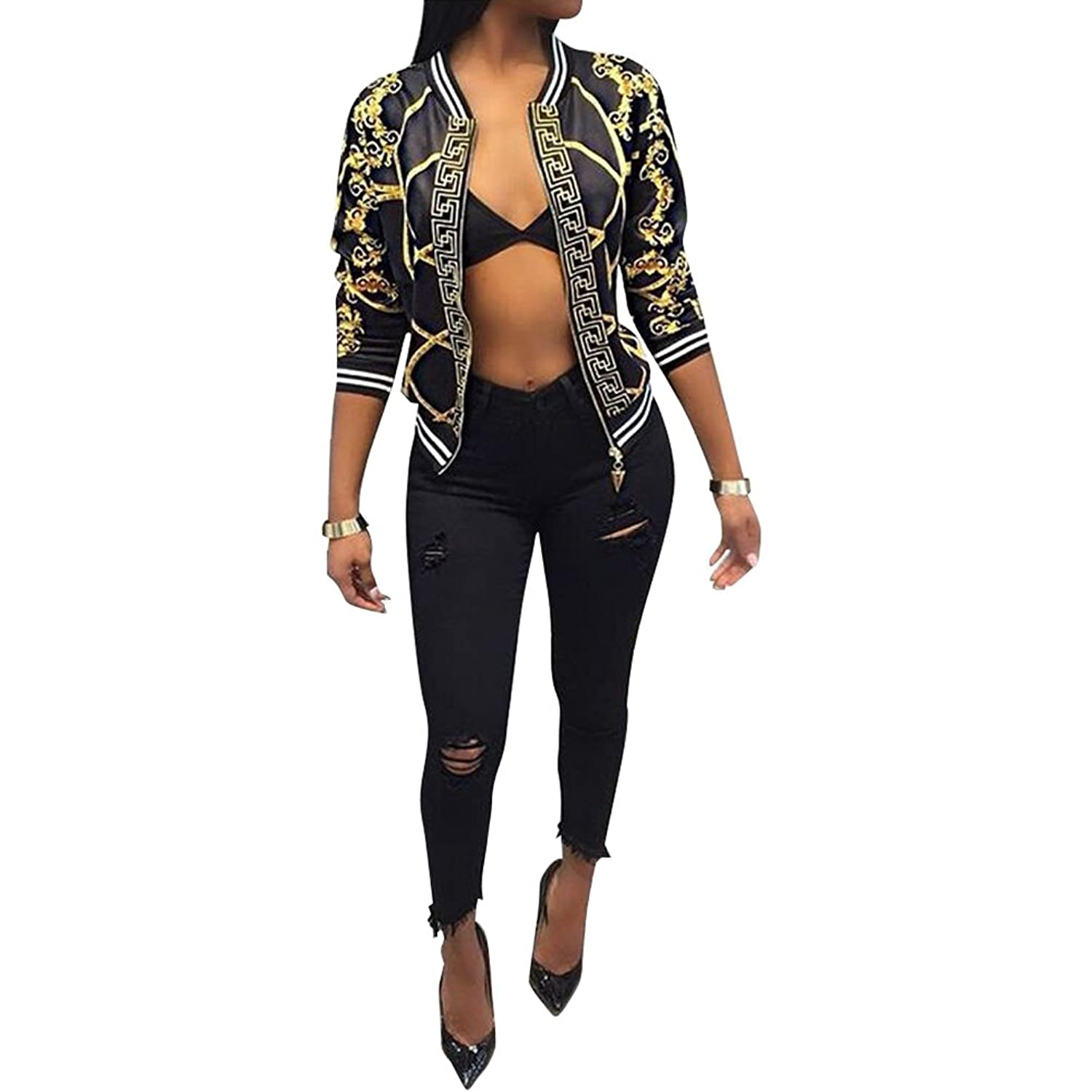 2c76379cfc0 Top10  Metup Women s Vintage Gold Chain Print Bomber Jacket with Long Sleeve  Banded Collar