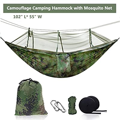 Ufanore Camping Hammock, Lightweight & Nylon Hammock with Tree Straps and Mosquito Net, Portable & 500lbs Hammock for Hiking Backpacking Travel Beach Garden Yard Includes Parachute & Steel Carabiners: Sports & Outdoors