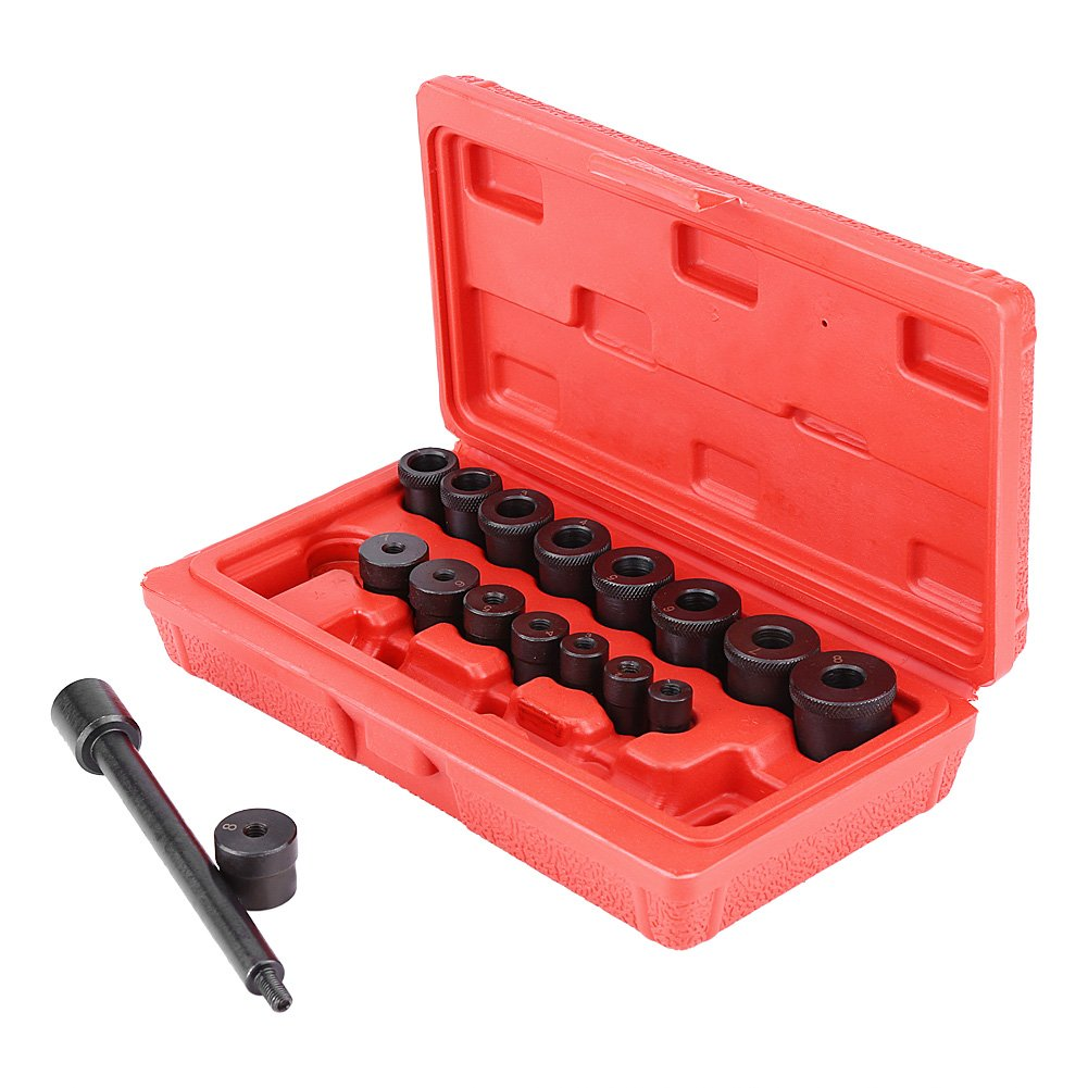 GOTOTOP Clutch Aligning Kit, 17pcs Universal Clutch Alignment Tool Kit Aligning Centering Aligner Car with a Red Case
