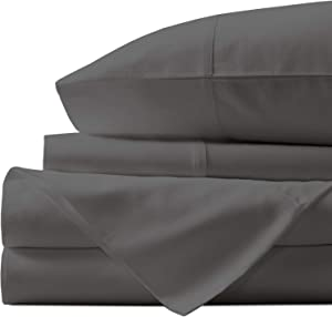 Natural Egyptian Cotton Sheets Queen-Size - 1000 Thread Count Sateen Weave, Hotel Style 4 Piece Dark Grey Bed Set, Long Staple Cotton Breathable Sheets, 16 Inch Elasticized Deep Pocket