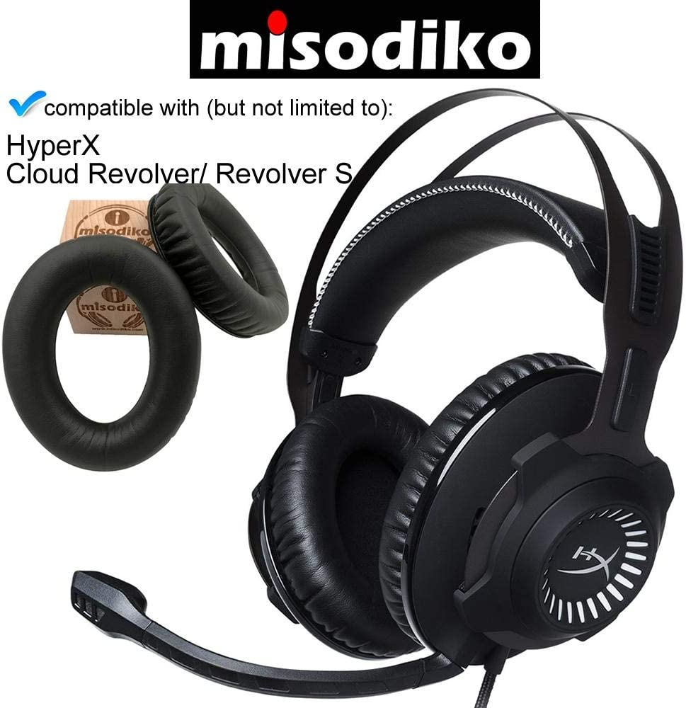 for HyperX Cloud Revolver//Revolver S Gaming Headset Headphones Repair Parts Earpads with Memory Foam misodiko Replacement Ear Pads Cushion Kit Black