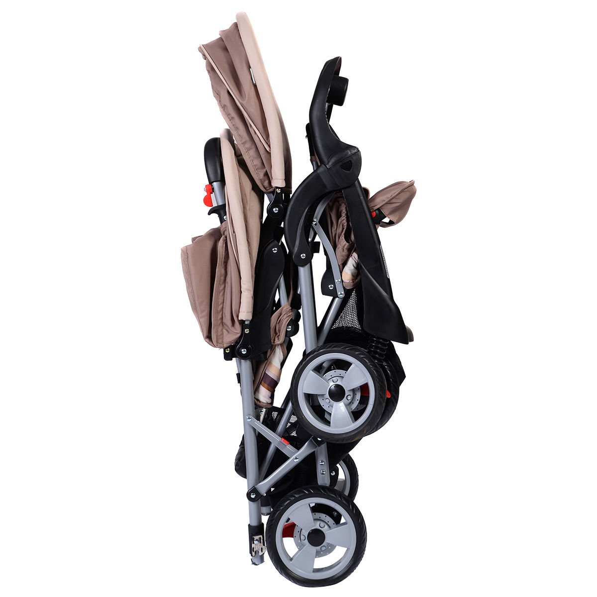 Foldable Twin Baby Double Stroller Kids Jogger Travel Infant Pushchair Gray by Apontus (Image #3)
