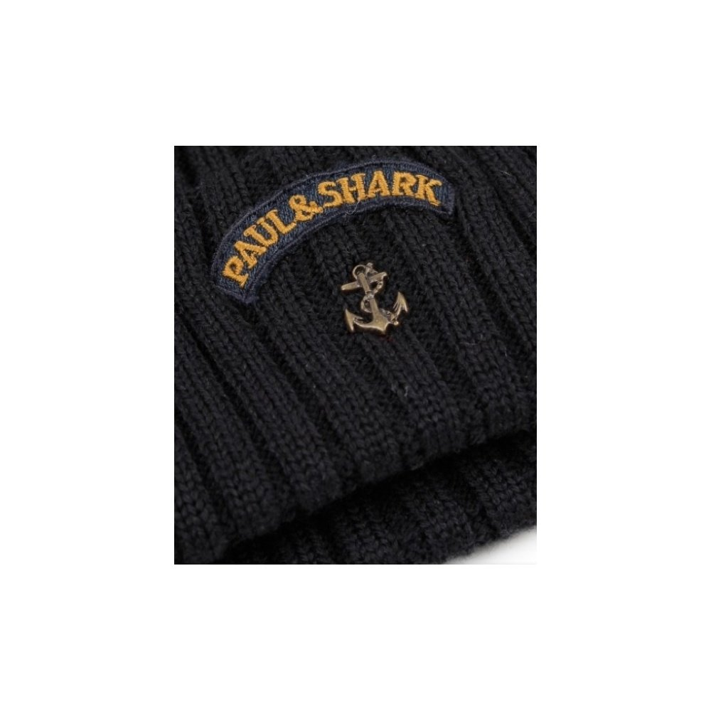 64bd1dc46 Paul and Shark Men's Virgin Wool Logo Beanie Hat Navy