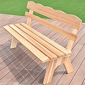 Giantex Wooden Garden Bench Chair Wood Frame Outdoor Yard Deck Furniture 5 Ft 3 Seats (Nature)