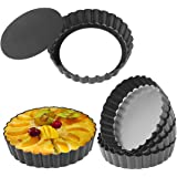 Quiche Pans, Homono Commercial Grade Non Stick Removable Bottom 5 Inch Mini Tart Pans (Pack of 6)