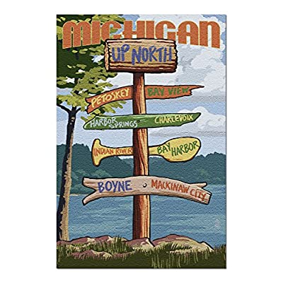 Up North, Michigan - Destinations Sign (Premium 1000 Piece Jigsaw Puzzle for Adults, 20x30, Made in USA!): Toys & Games
