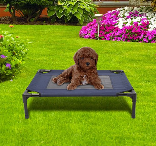 Portable Elevated Dog Cat Bed Raised Pet Cot Sleep Camping (Bone Microban)