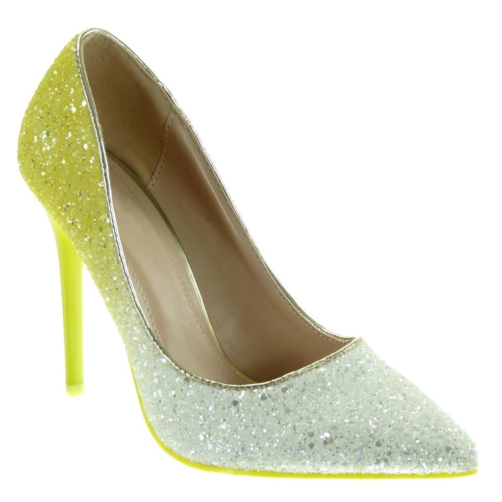 64a8abb0bc29fb ... Angkorly - Chaussure Mode Escarpin stiletto decolleté femme pailettes  brillant Talon Aiguille ...
