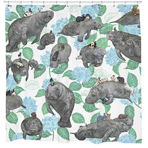 Rabbits Riding Manatees Fabric Shower Curtain Boho, used for sale  Delivered anywhere in USA