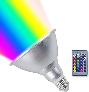 Klarlight 20W Dimmable LED PAR38 RGBW Light Bulbs Medium E26 Base PAR38 LED RGB Spotlight Bulb Outdoor Colored RGB+Warm White Floodlight with Remote Control for Garden, Landscape, Wedding Decor