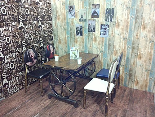 Upper-Retro Möbel aus Schmiedeeisen Stuhl bar Dessert Restaurant fast food Tische und Stühle retro Thema restaurant Tische und Stühle, Rad einzelnen Tisch, 120* 60