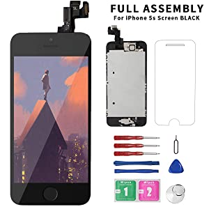 Diykitpl for iPhone 5S Screen Replacement Black with Home Button, Complete I5S Glass LCD Digitizer Display for A1533,A1530,A1457,A1453 Full Assembly w/Camera,Proximity Sensor,Ear Speaker,Repair Tool