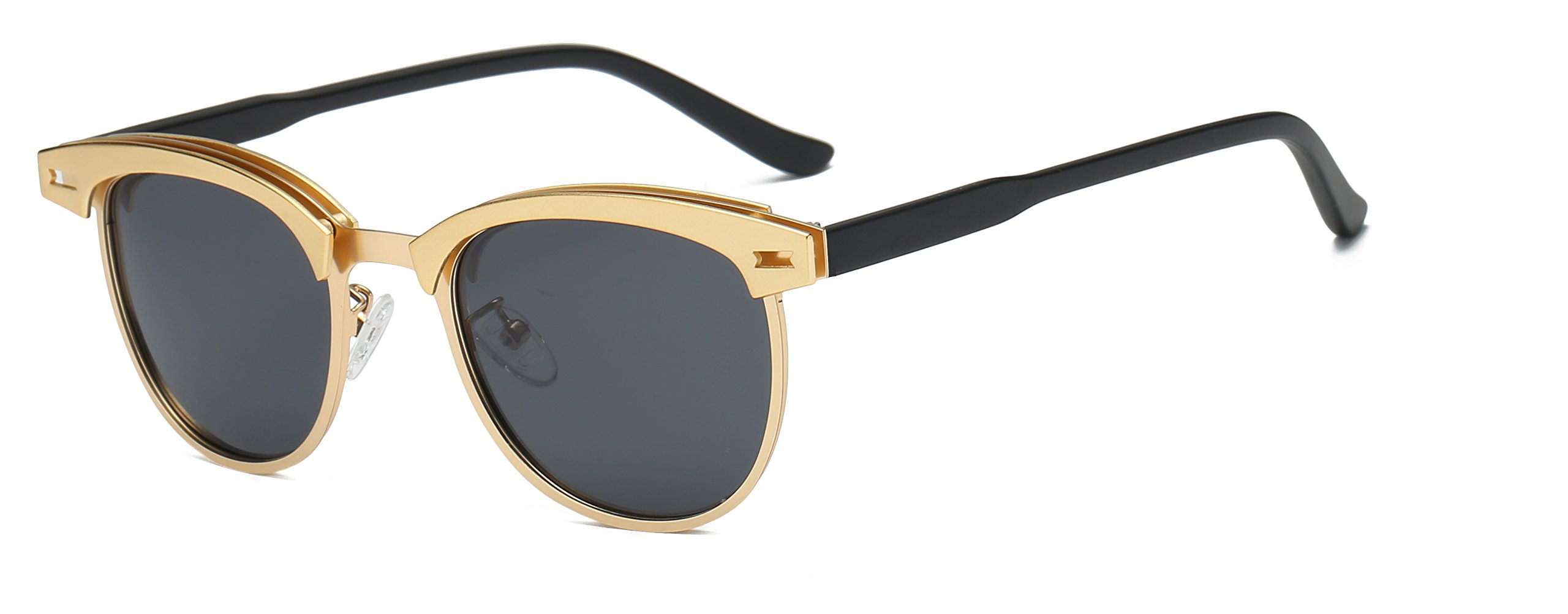 Classic Semi Rimless Polarized Sunglasses Women Men Retro Brand Sun Glasses 0911C2