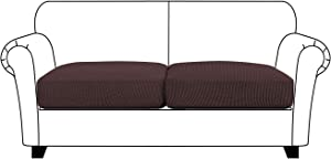 Turquoize Stretch Seat Cushion Cover Sofa Cushion Cover/Spandex Elastic Furniture Protector for Sofa Seat Jacquard Small Checked Sofa Slipcover with Elastic Bottom, Loveseat Cushion Cover, Brown