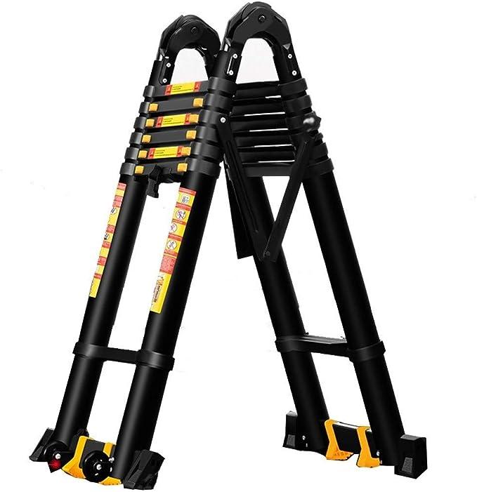 Escalera extensible Escalera telescópica Escalera de extensión compacta con ruedas y barra estabilizadora, Escaleras telescópicas de aluminio negro para escaleras de buhardilla tipo loft en interiores: Amazon.es: Hogar