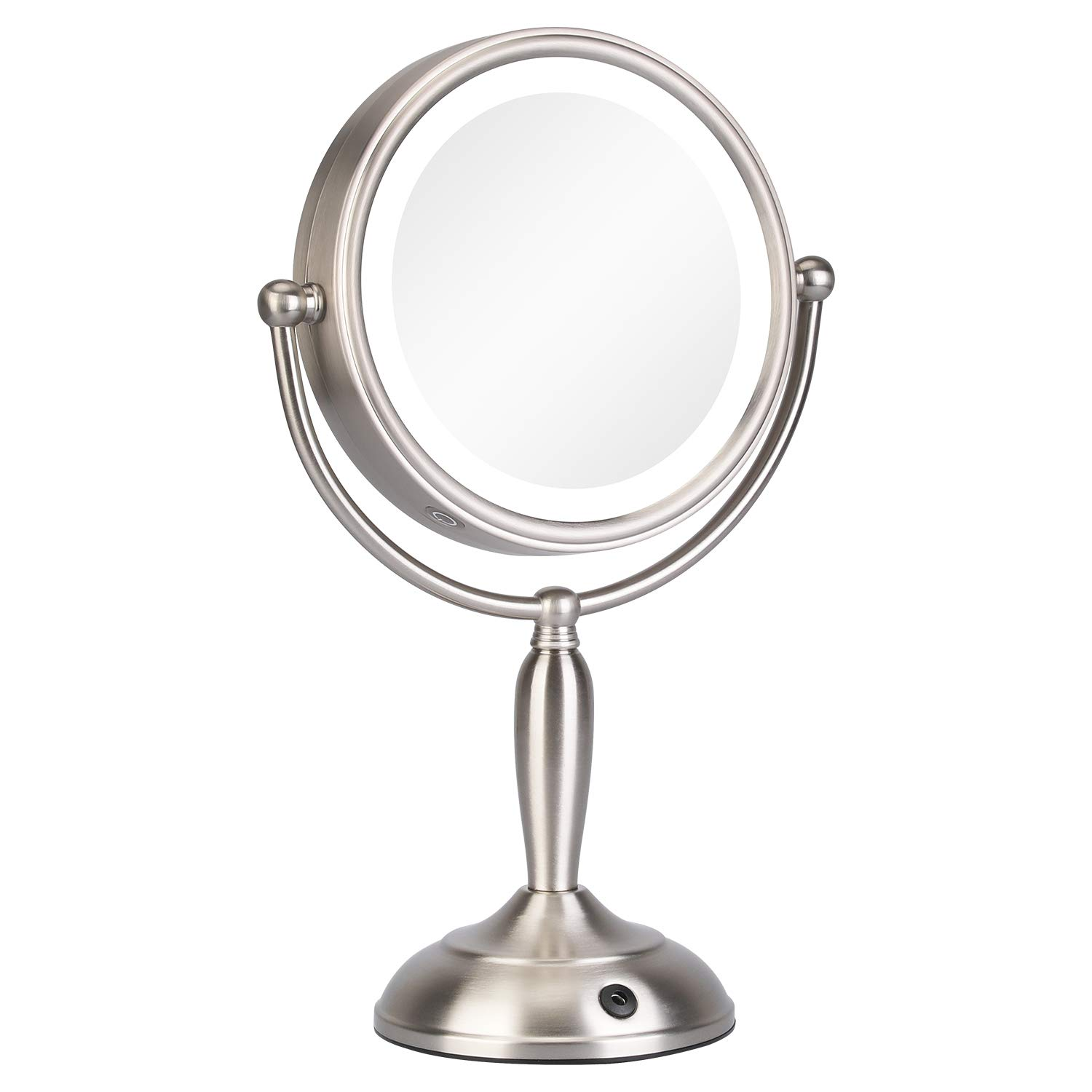 KEDSUM 8 Inch 1X/10X Lighted Magnifying Makeup Mirror with 3 Lighting Modes, Double Sided Magnification Vanity Mirror with Lights, Cordless Tabletop Mirror, Touch Button & Dual Power Supply