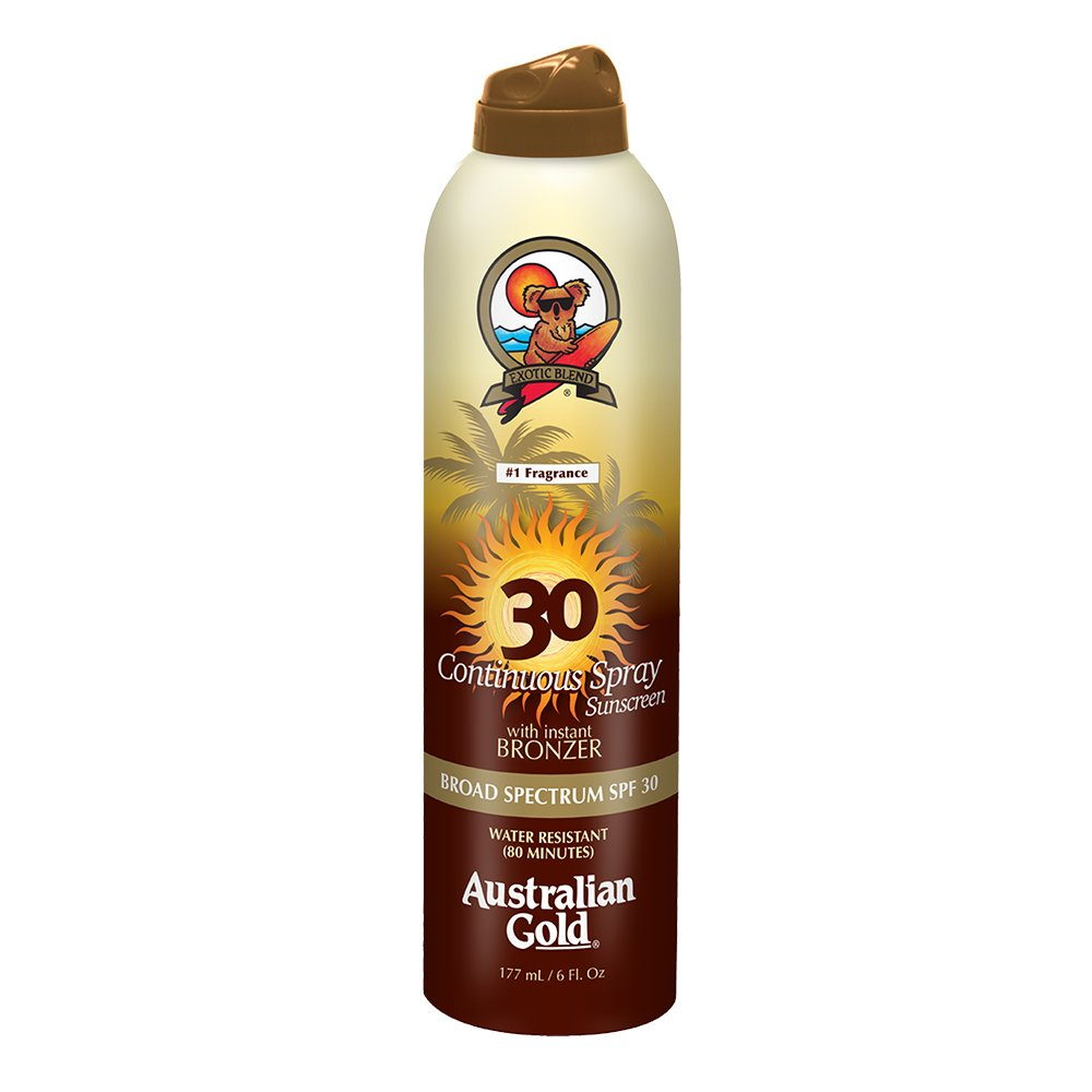 Australian Gold SPF 30 Continuous Spray Sunscreen with Instant Bronzer, 6 Fl Oz