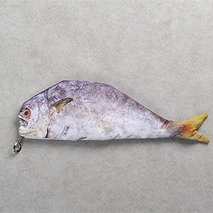 Estuche con forma de pez realista para carpa, bolsa de maquillaje, bolso cambiador de bolsillo, moda bonita, tres tipos de patrones de pescado, color 220 31 * 14cm: Amazon.es: Oficina y papelería