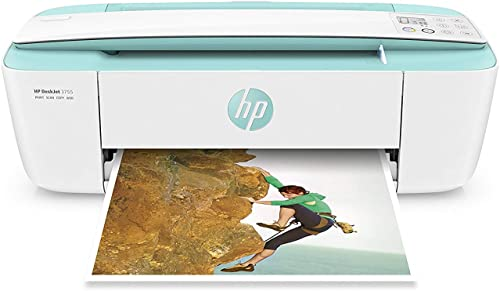 HP DeskJet 3755 Compact All-in-One Wireless Printer, HP Instant Ink, Works with Alexa – Seagrass Accent J9V92A