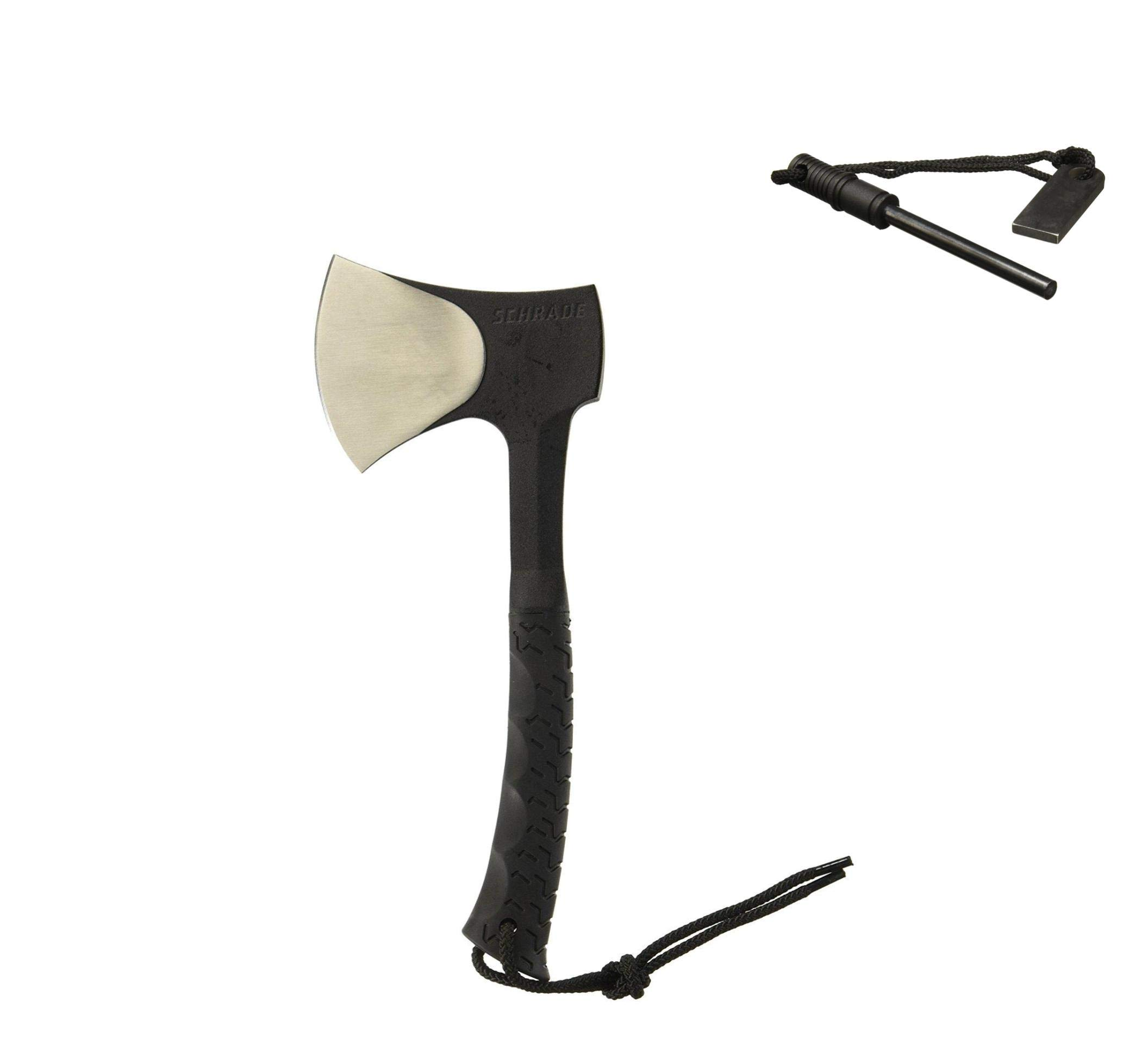 SCAXE10 11.1in Full Tang Hatchet with 3.6in Stainless Steel Blade and TPR Handle for Outdoor Survival Camping and Everyday Carry (Hatchet with Fire Striker Included)