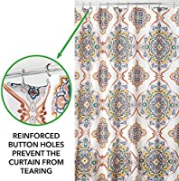 for Bathroom Showers Machine Washable mDesign Decorative Paisley Damask Print 72 x 72 Multicolor Easy Care Fabric Shower Curtain with Reinforced Buttonholes Stalls and Bathtubs