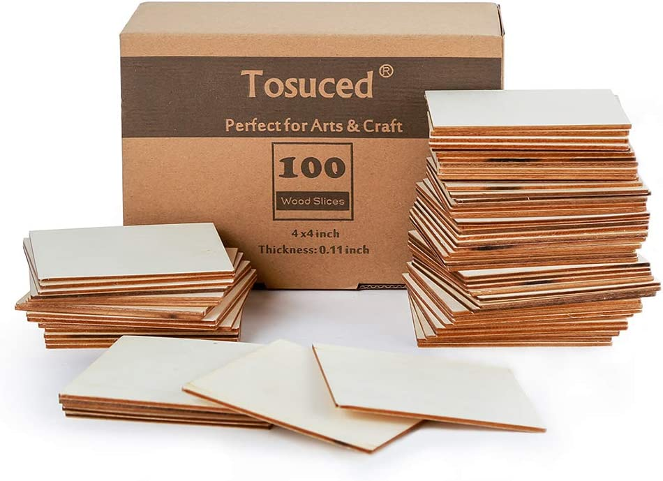Unfinished Wood Pieces 100 Pcs Blank Square 4 x 4 Inch Wood Slices for Crafts, Cup Coasters, Wooden Ornaments, DIY Scrabble Letters Decorations