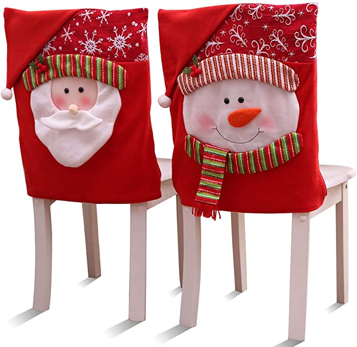 Vankcp New Year Chair Covers, Red Santa & Snowman Chair Covers for Holiday Festive Dining Room Party Decorations