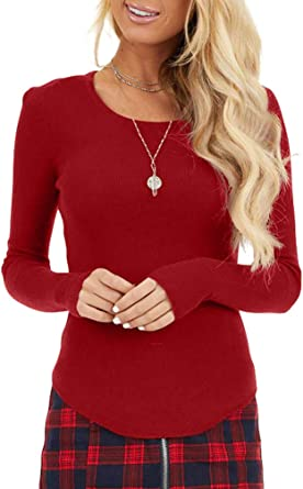 Womens Shirt Comfort V-Neck Long Sleeve Suede Pocket Stripe Slim T-Shirt Top Wine Red