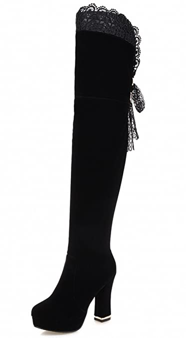 4e331a8a4e1c Rongzhi Womens Over The Knee Boots Thick Heels Pumps Platform Suede Lace Thigh  High Boots Black