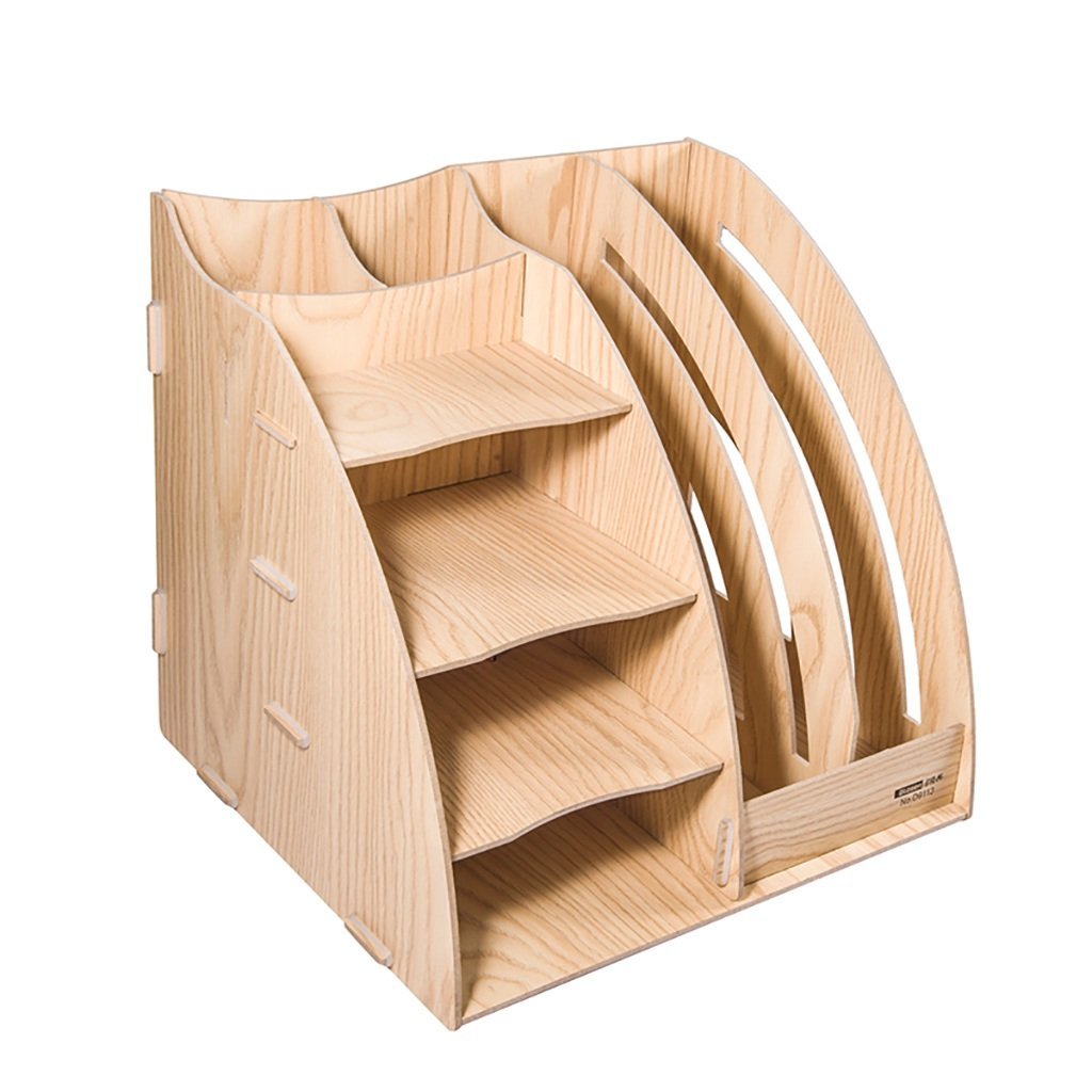 Wanli666 Portadocumenti in legno Scaffale per documenti Colonna file a quattro strati Forniture per ufficio Porta file multistrato in legno