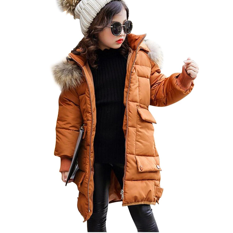 Amazon.com: LLQ Girl Winter Coat Long Jacket Kids Clothes Down Outwear Hooded Tops Puffer Anorak Faux Fur Black: Clothing