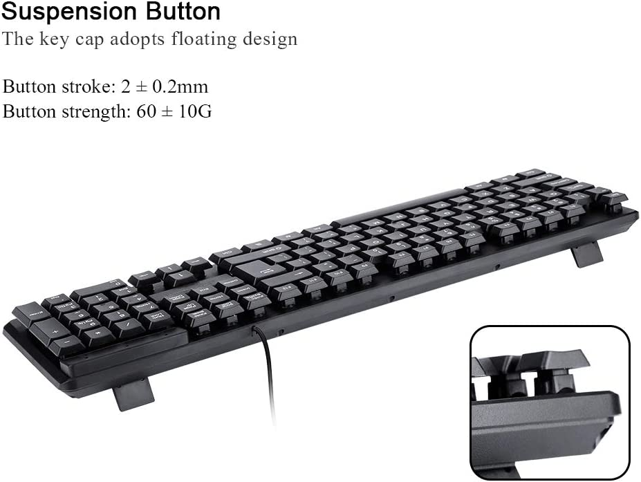 Yencoly Wired Keyboard 104 Keys Wired Mechanical USB Game Mute Gaming Mechanical Keyboard for Win//Mac PC Desktop Microsoft Keyboard Gaming Keyboard