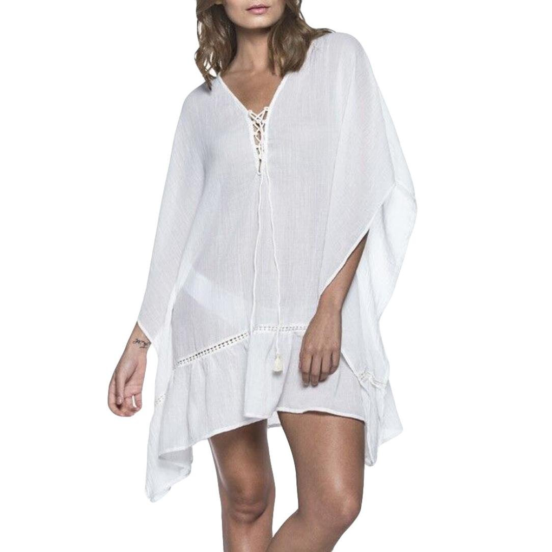 Spbamboo Women Cover Blouse Tops Pure White Suit Bikini Cotton Beach Smock by Spbamboo
