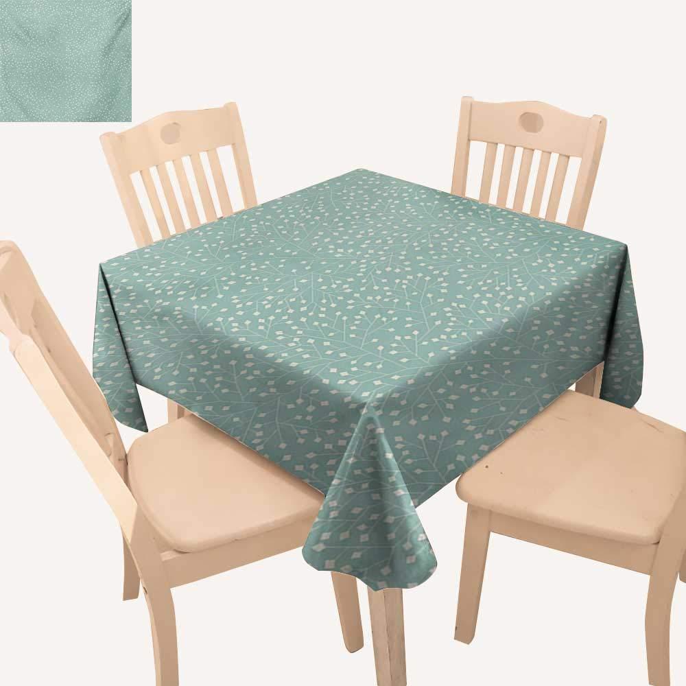Angoueleven ターコイズ 正方形 テーブルクロス 抽象的 花柄 アレンジメント 手描き 葉 円形 エレメント ロマンチックなダイニングテーブルカバー ティールコーラル W 70