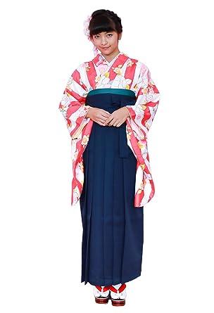 3点セット [キョウエツ] レディース 二尺袖着物 花和柄 (着物、袴、袴下帯) 無地袴 袴セット