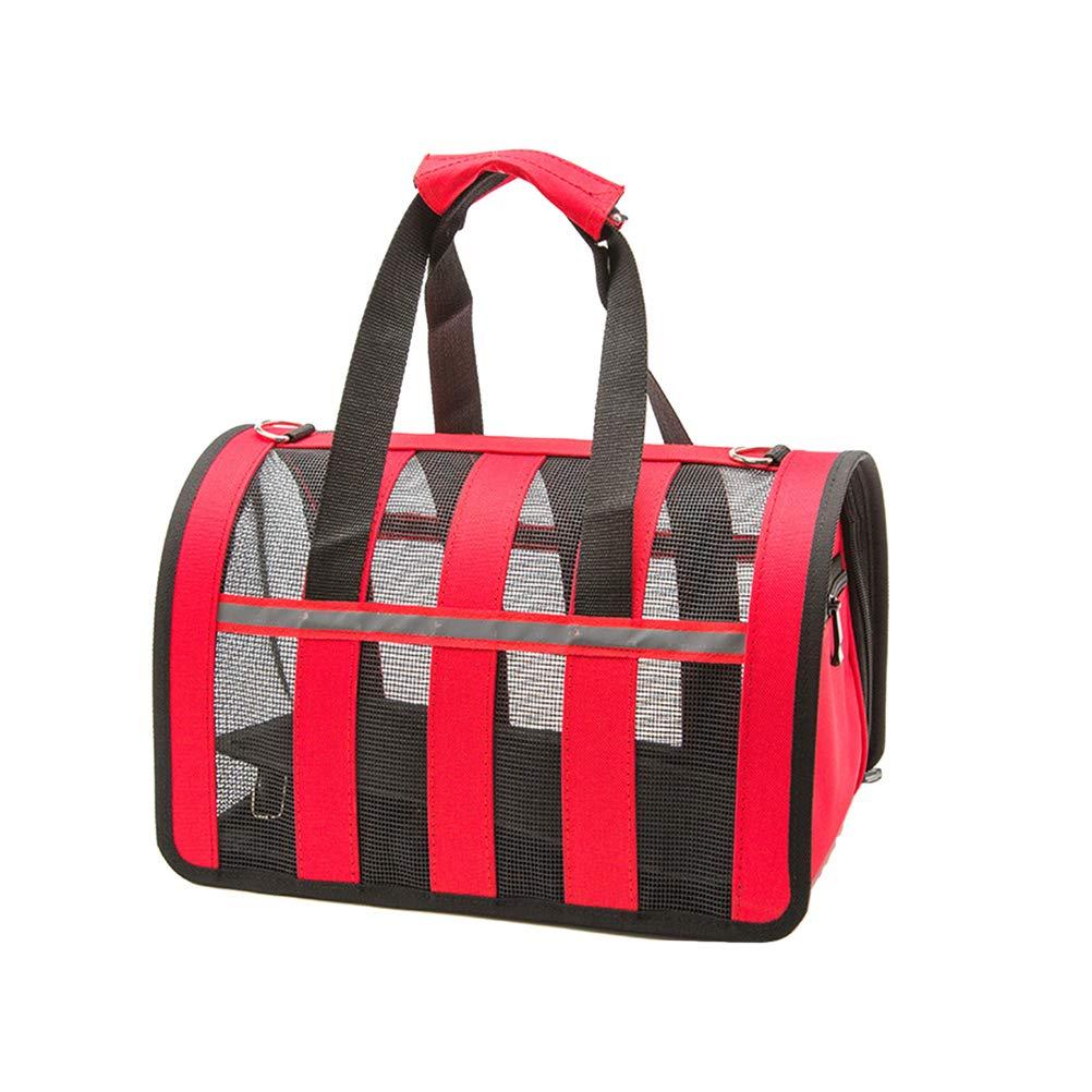 POPETPOP Pet Dog Cat Transparent Handbag Portable Adjustable Breathable Handbag - Size S (Red) by POPETPOP