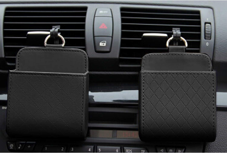 Keenso Universal Car Air Vent Organizer Schwarz Auto Rücksitz Innenkoffer Mit Haken Mount Outlet Aufbewahrungsbox Hängen Leder Container Tasche Beutelhalter Auto
