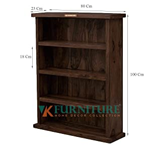 VK Furniture Sheesham Wood Book Shelf for Living Room | Bookcase with 3 Shelves | Rusty Brown Finish