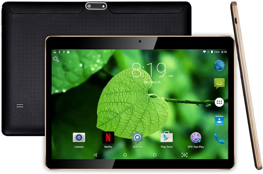 """10 inch Android Tablet with Sim Card Slot Unlocked - YELLYOUTH 10"""" IPS Octa Core 4GB RAM 64GB ROM GSM Phablet Tablets with WiFi GPS Bluetooth Dual Cameras - Black"""