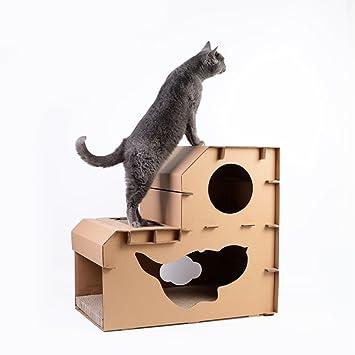 L&XY Cama De Gato Cama De Gato Corrugado Scratchboard Gato Cuevas De Dos Pisos Duradera Protección