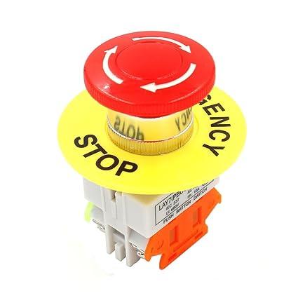 Baomain Red Mushroom Cap pulsador de parada de emergencia Interruptor de CA 660 V 10 A