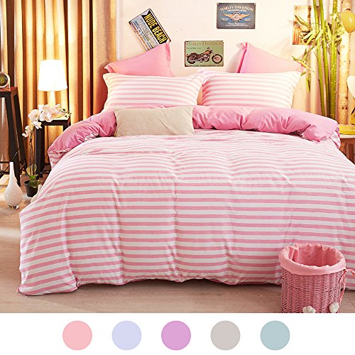 ZHIMIAN Reversible 3 Piece Striped Print Duvet Cover Set with Zipper Closure(1 Duvet Cover + 2 Pillow Shams),Ultra Soft(King Pink)
