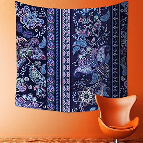 AmaPark Tapestry Wall Tapestry Striped Seamless Pattern Floral Wallpaper Wall Hanging Yoga/Picnic/Camping Mat70W x 70L Inch