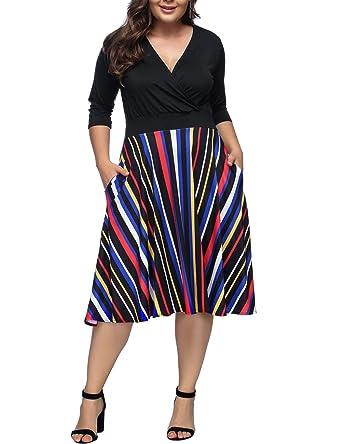 YUMDO Women\'s V Neck 3/4 Sleeve Dress with Pockets Stripe Skirt Plus ...