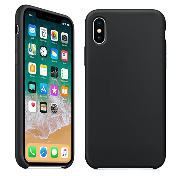 premium selection 242dd 70c05 iPhone X Silicone Case,LIANGJIHUI Liquid Silicone Gel Rubber Shockproof  Case with Soft Microfiber Cloth Lining Cushion for Apple iPhone X  (2017),Black
