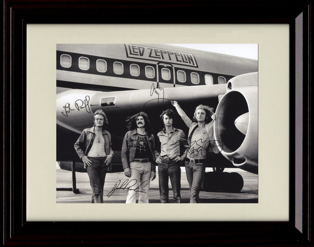 Framed Led Zeppelin Autograph Replica Print by Framed Print - Music