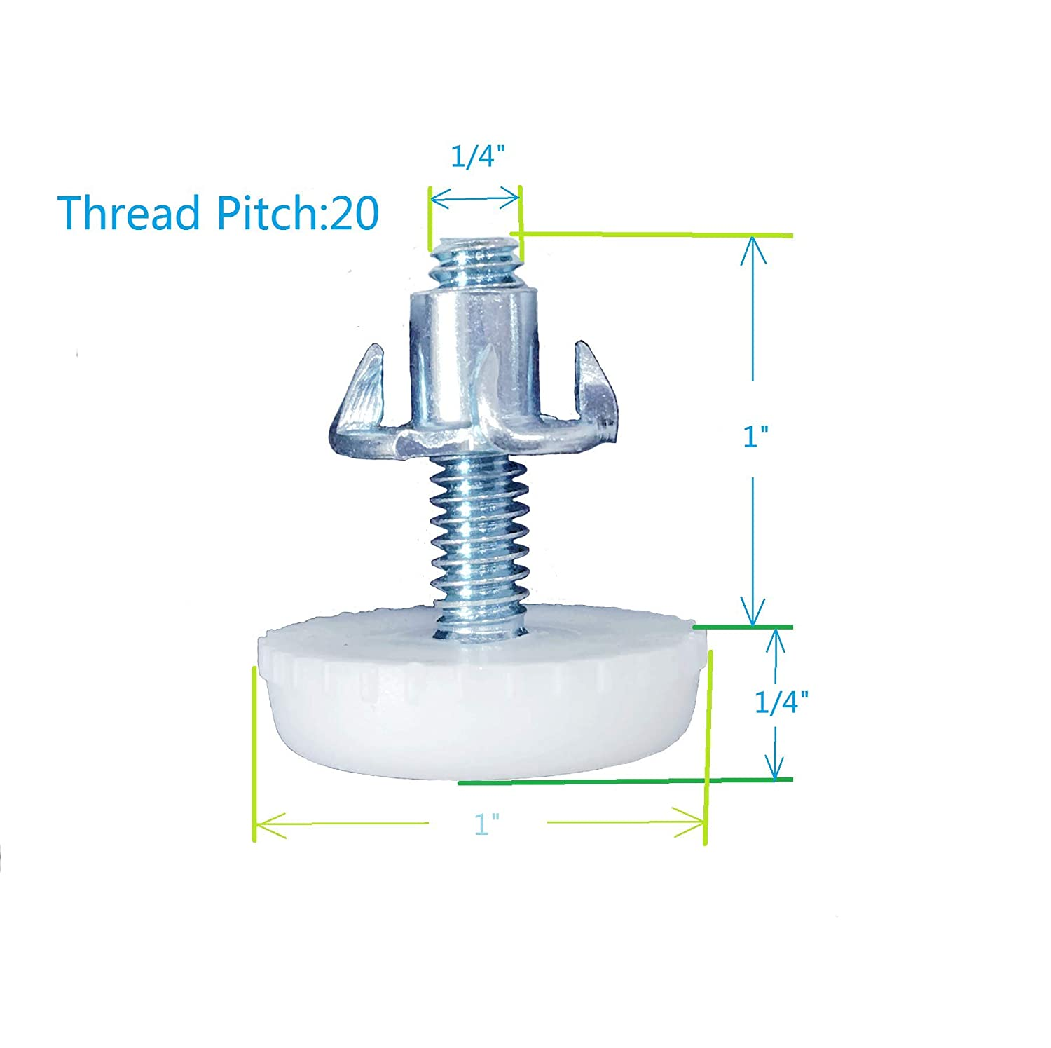 Inch Size, Furniture Levelers 8/8 Bolt, 8 Pack, White 8 Pack