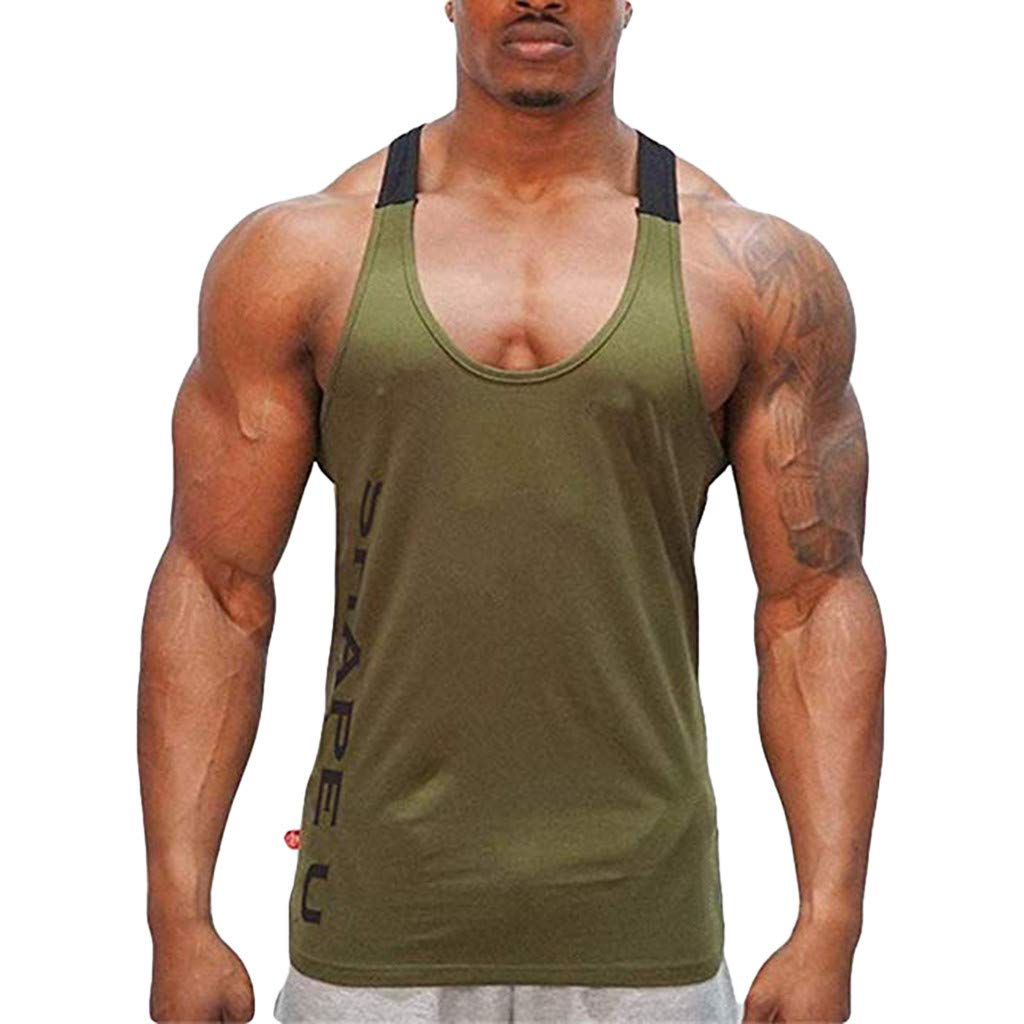 Summer Men's Sleeveless Fashion Letter Print Color Block Vest T-Shirt Bodybuilding Fitness Vest Asiebiul (Army Green,L) by Asibeiul men clothes (Image #1)