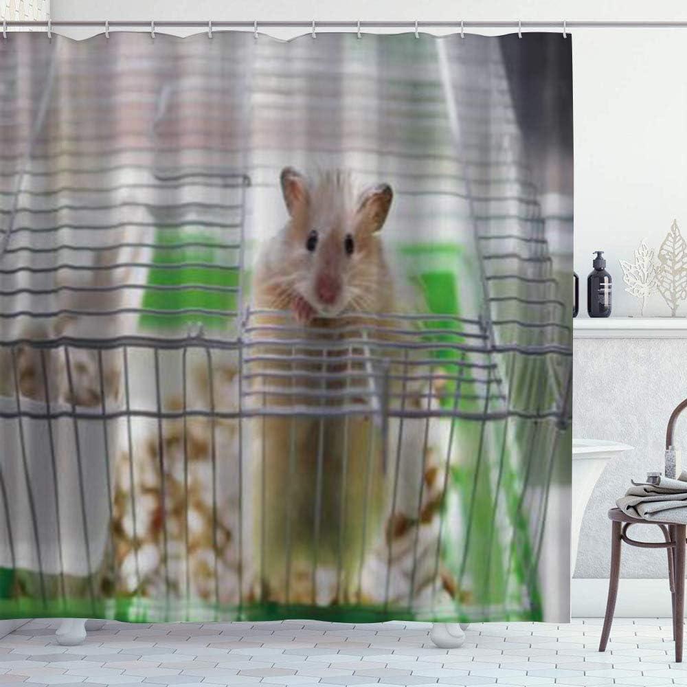DYCBNESS Cortina de Ducha,Un hámster está en una Jaula,Material Resistente al Agua Durable Estampa Digital Cortina de Baño Impermeable,180 x 180 cm